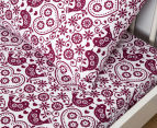 Living Textiles Baby 2-Piece Birds Cot Sheet Set - White/Plum 2