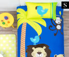 Happy Kids Jungle Single Bed Quilt Cover Set - Navy Blue 1