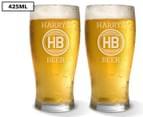 2 x Personalised Standard Beer Glass 425mL 1