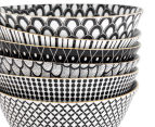 Cooper & Co. Gold Trim 15.5cm Bowl 6-Pack - Assorted Black/White 5