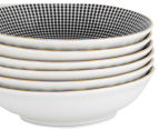 Cooper & Co. Gold Trim 14cm Snack Bowl 6-Pack - Assorted Black/White 4