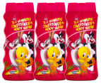 3 x Looney Tunes 3-in-1 Shampoo, Conditioner & Body Wash Strawberry 400mL 1