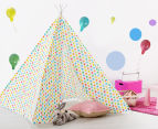 Happy Kids 135x130cm Teepee Tent - Multicoloured Stars 2