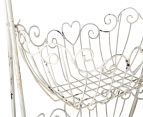 Ornate 64x42x26cm 2-Tier Basket Stand - Antique White 5
