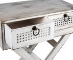Lorette French Chic 60x50x30cm 2-Drawer Side Table - Antique White 5
