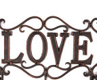 Antique Look 30x22x6cm Love 3-Hook Cast Iron Wall Hanger - Black 4