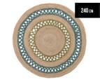 Maple & Elm 240cm Summer Loop Jute Rug - Turquoise/Green 1