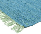 Maple & Elm 220x150cm Summer Fringe Cotton Rug - Blue 2