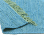 Maple & Elm 220x150cm Summer Fringe Cotton Rug - Blue 4