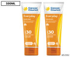 2 x Cancer Council Everyday Sunscreen SPF30 Bottle 250mL 1
