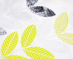 Belmondo Leaves Double Bed Quilt Cover Set - Black/Lime/White 4