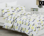 Belmondo Leaves Queen Quilt Cover Set - Black/Lime/White 1