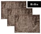 Super Soft Metallic 85x55cm Shag Rug 3-Pack - Ash 1