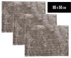 Super Soft Metallic 85x55cm Shag Rug 3-Pack - Stone 1