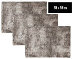 Super Soft Metallic 85x55cm Shag Rug 3-Pack - Granite 1