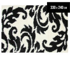 Damask Leaf 330x240cm Shag Rug - Black/White 1