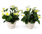 Set of 2 Artificial 28x24cm Potted Pansies - White 2