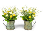 Set of 2 Artificial 22x14cm Flower Mix in Tin Jug - Yellow 2
