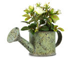 Set of 2 Artificial 17x14cm Mini Roses in Tin Watering Can - White 3