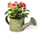 Set of 2 Artificial 17x14cm Mini Roses in Tin Watering Can - Pink 3