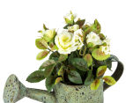 Set of 2 Artificial 17x14cm Mini Roses in Tin Watering Can - White 4