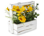 Set of 2 Artificial 20x18cm Flower Mix in Shabby Chic Box - Yellow 4
