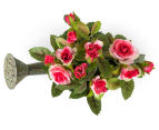 Set of 2 Artificial 17x14cm Mini Roses in Tin Watering Can - Pink 4