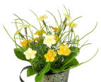 Set of 2 Artificial 22x14cm Flower Mix in Tin Jug - Yellow 4