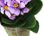 Set of 3 Artificial 21cm African Violets in Tin Pot - Purple 5