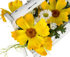 Set of 2 Artificial 20x18cm Flower Mix in Shabby Chic Box - Yellow 5