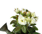 Set of 2 Artificial 17x14cm Mini Roses in Tin Watering Can - White 5