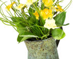 Set of 2 Artificial 22x14cm Flower Mix in Tin Jug - Yellow 5