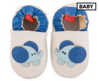 Angel Fit Baby Elephant Shoes - Cream/Blue 1
