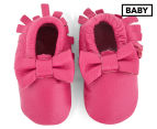 Angel Fit Moccasins With Bow - Hot Pink 1