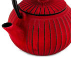 Teaology 500mL Cast Iron Ribbed Tea Pot - Red 6
