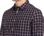 JAG Men's Long Sleeve Fine Multi Check Shirt - Navy 6