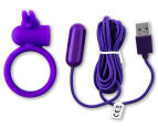 Buckle Up USB Silicone Rabbit Cockring - Purple 6