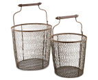 Set of 2 Nested Rustique Storage Bins - Rust 1
