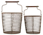Set of 2 Nested Rustique Storage Bins - Rust 3