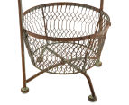 Tall 76cm Rustique 2-Tiered Bowl Stand - Rust 4
