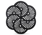 Wooden Carved Wall Hanging Wheels - Black 6