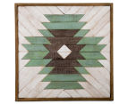 Square Framed Aztec Wood Panelled Wall Art - White/Green/Brown 1