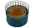 Set of 3 Nested Round Limpopo Baskets - Blue/Aqua/Yellow 3