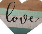 Wood Carved 56x17cm Love Wall Sign - Multi 4