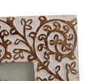 Mango Wood 29x25cm Carved Flower Design Photo Frame - White/Brown 5