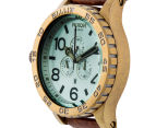 Nixon Men's 51mm 51-30 Chrono Leather Watch - Brass/Green Crystal/Brown 2