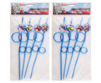 2 x Avengers Twisted Silly Straws 4pk - Blue 1