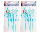 2 x Frozen Twisted Silly Straws 4pk - Blue 1