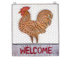 Metallic 46x40.5cm Rooster Welcome Sign - Rust 1
