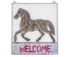 Metallic 46x40.5cm Horse Welcome Sign - Grey 1